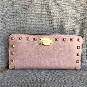 MICHAEL KORS STUDDED LEATHER ZIP AROUND WALLET